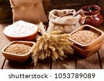 close up of grains and wheat... | Shutterstock . vector #1053789089