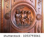 wood sculpture in florence... | Shutterstock . vector #1053793061