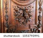 old wood sculpture in a villa ... | Shutterstock . vector #1053793991