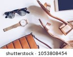 fashion blog concept on white... | Shutterstock . vector #1053808454