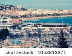 city of cannes on the french... | Shutterstock . vector #1053813371