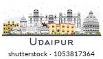 udaipur india city skyline with ... | Shutterstock .eps vector #1053817364