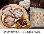 Small photo of Turkish sweet shop: Almond cookie, almond butter, walnut halvah and Turkish delight