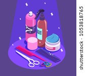 set of styling equipment cream  ... | Shutterstock .eps vector #1053818765