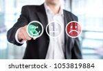business man giving rating and... | Shutterstock . vector #1053819884