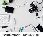 top view of office desk... | Shutterstock . vector #1053822281