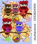 a family of colorful  bright ... | Shutterstock .eps vector #1053824504