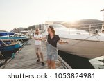 lovers  boy and girl  walk and... | Shutterstock . vector #1053824981