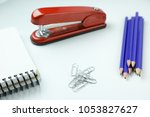 office desk and various study... | Shutterstock . vector #1053827627