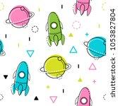 space vector seamless pattern.... | Shutterstock .eps vector #1053827804