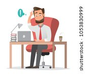 smiling businessman is sitting... | Shutterstock .eps vector #1053830999