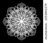 mandala. silver round ornament... | Shutterstock .eps vector #1053842279