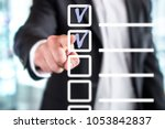 business man with checklist and ... | Shutterstock . vector #1053842837