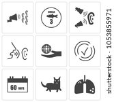 set of 9 simple editable icons... | Shutterstock .eps vector #1053855971