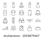 women clothes icon set.... | Shutterstock .eps vector #1053879467
