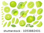 vector set. fresh lime and lime ... | Shutterstock .eps vector #1053882431