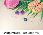 summer concept with hat... | Shutterstock . vector #1053884741