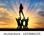 silhouette of a selfish and... | Shutterstock . vector #1053886235
