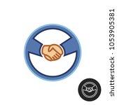 hands with car steering wheel....   Shutterstock .eps vector #1053905381