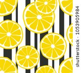 fresh lemons background. hand... | Shutterstock .eps vector #1053905984