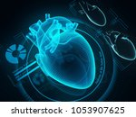 the human heart diagnostic...   Shutterstock . vector #1053907625