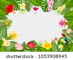 summer tropical frame design... | Shutterstock .eps vector #1053908945