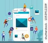 flat design concept team... | Shutterstock .eps vector #1053912209