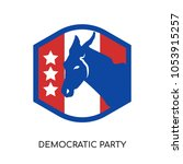 democratic party logo isolated... | Shutterstock .eps vector #1053915257