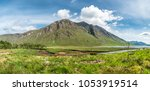 The paradisal landscape of Glen Etive with the mouth of River Etive , Scotland - Europe