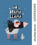 a dreamy lama is posing in a... | Shutterstock .eps vector #1053933395