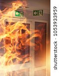 fire in the building | Shutterstock . vector #1053933959