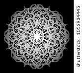 mandala. silver round ornament... | Shutterstock .eps vector #1053934445