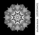 mandala. silver round ornament... | Shutterstock .eps vector #1053934451