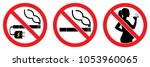 set no smokings sign   vaping ... | Shutterstock .eps vector #1053960065