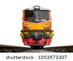 low angle shot front of train... | Shutterstock . vector #1053973307