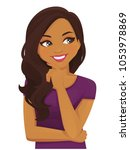cute thinking woman looking... | Shutterstock .eps vector #1053978869