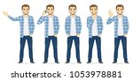 man in casual clothes | Shutterstock .eps vector #1053978881