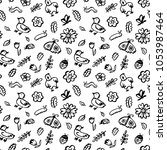 seamless pattern with flowers... | Shutterstock .eps vector #1053987464