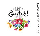 template of happy easter card... | Shutterstock .eps vector #1053990074