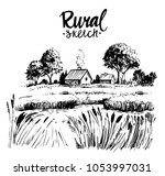 rural landscape with farm house ... | Shutterstock .eps vector #1053997031