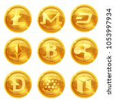 cripto currency logo coins... | Shutterstock .eps vector #1053997934