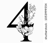 vector hand drawn floral number ... | Shutterstock .eps vector #1053999554