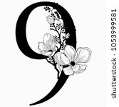 vector hand drawn floral number ... | Shutterstock .eps vector #1053999581
