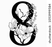 vector hand drawn floral number ...   Shutterstock .eps vector #1053999584