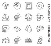 thin line icon set   brick wall ... | Shutterstock .eps vector #1054004015