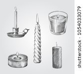 hand drawn burning candles... | Shutterstock .eps vector #1054033079