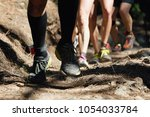 trail running group on mountain ... | Shutterstock . vector #1054033784