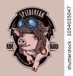 Funny Emblem. Pig In A Retro...