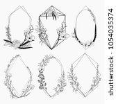 black vector floristic frames... | Shutterstock .eps vector #1054035374