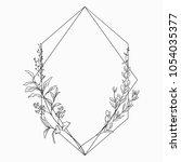 black vector floristic frame... | Shutterstock .eps vector #1054035377